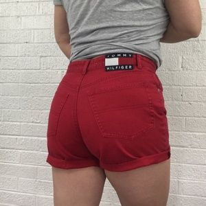 Vintage Tommy Hilfiger high waisted red shorts 26""